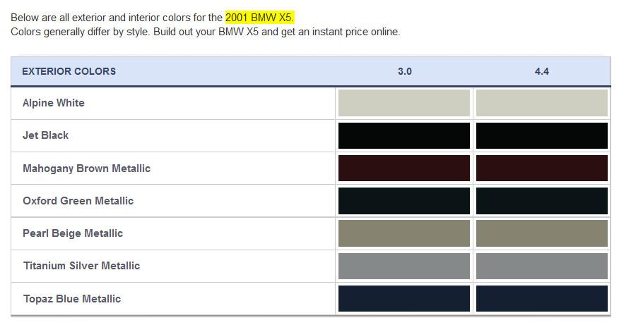 Bmw 2001 E53 X5 Exterior Paint Color Chart Jpg