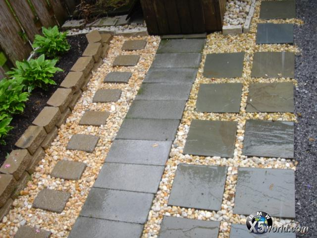 ... Do The Entire Patio With Pavers. I Ended Up Getting A Decent Deal On  12X12 Flagstone, So I Did This On The Side Which Tended To Get Big Ass  Puddles: